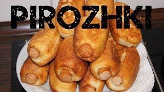 Pirozhki mit Würstchen/Жареные пирожки с сосиками/ Pirozhki with sausages (russian food)