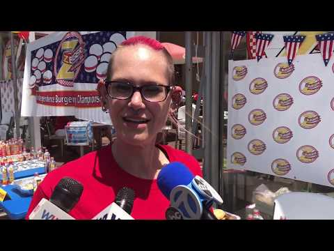Ca. woman defends title in D.C. burger eating competition