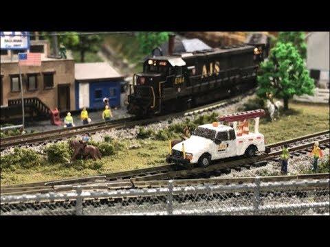 Model RR N Scale #85 - Scratch built Hi-Rail Utility Truck made of balsa wood & a Shoutout.
