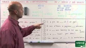 """""""du"""", """"dû"""", """"dûs"""", """"dus"""", """"due"""", et """"dues"""""""