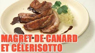 Recette de Magret de canard caramel de soja et célérisotto
