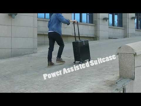 HK Electronics Fair:here is demonstration of Airwheel SR5 intelligent power-assist suitcase.