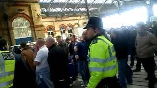 brighton v portsmouth, brighton supporters in brighton station