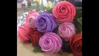 Como hacer Rosas con una tira de papel super facil / Cómo hacer Rosa (muy facil) - manualidades
