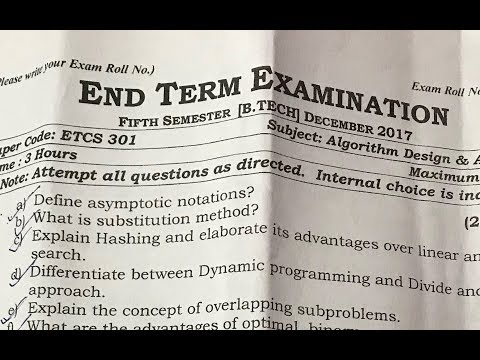 Algorithm Design and Analysis Question Paper Review| 2017