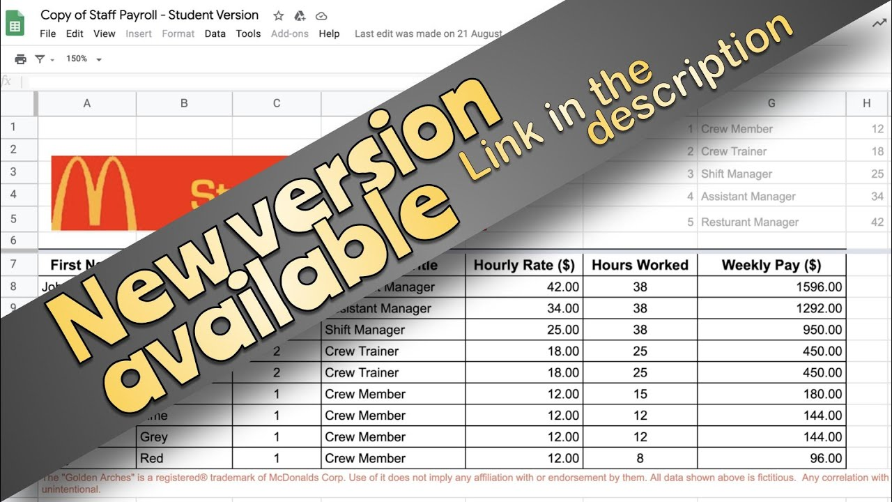 VLOOKUP - Staff Payroll Exercise - YouTube