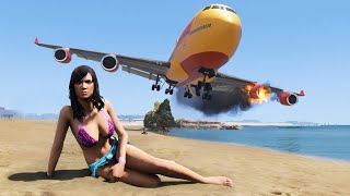 BEST of Realistic Plane Emergency Landings On The Beach GTA 5