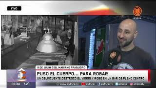 Entró a robar tirándose contra el vidrio de un bar en pleno centro de Córdoba