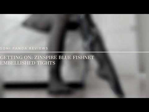 Getting On: Zinspire Blue Fishnet Embellished Tights