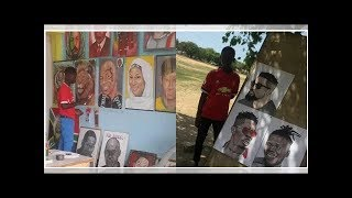 Meet Clark Amissah and his impressive paintings of Sarkodie, Shatta Wale and Stonebwoy (photos)