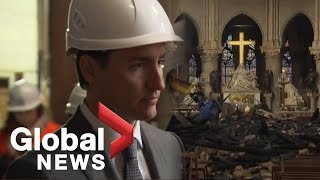 Trudeau tours fire-ravaged Notre Dame cathedral in Paris