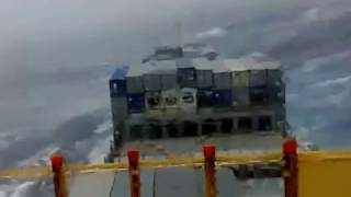 container vessel in storm