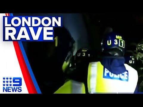 Illegal rave shut down amid strict lockdown in UK | 9 News Australia thumbnail