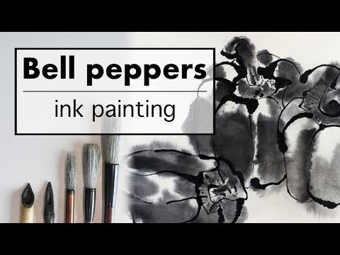 Japanese Ink Painting Sumi-e/ How To Draw Bell Peppers