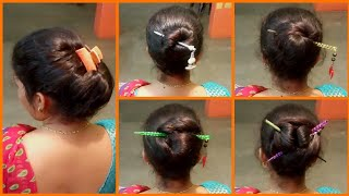 5 Quick Bun Hairstyles with Chinese Stick | Chinese Stick Bun | Simple, Cute Latest Hairstyles