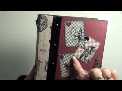 alice in wonderland journal-scrapbook mini album tutorial  for sale
