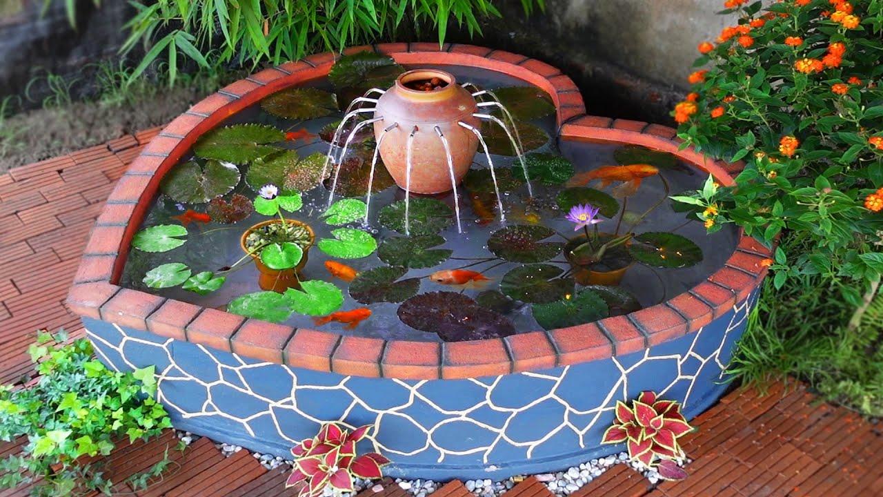 DIY Amazing Heart Waterfall Aquarium with Bricks and Cement - Garden Decoration Ideas