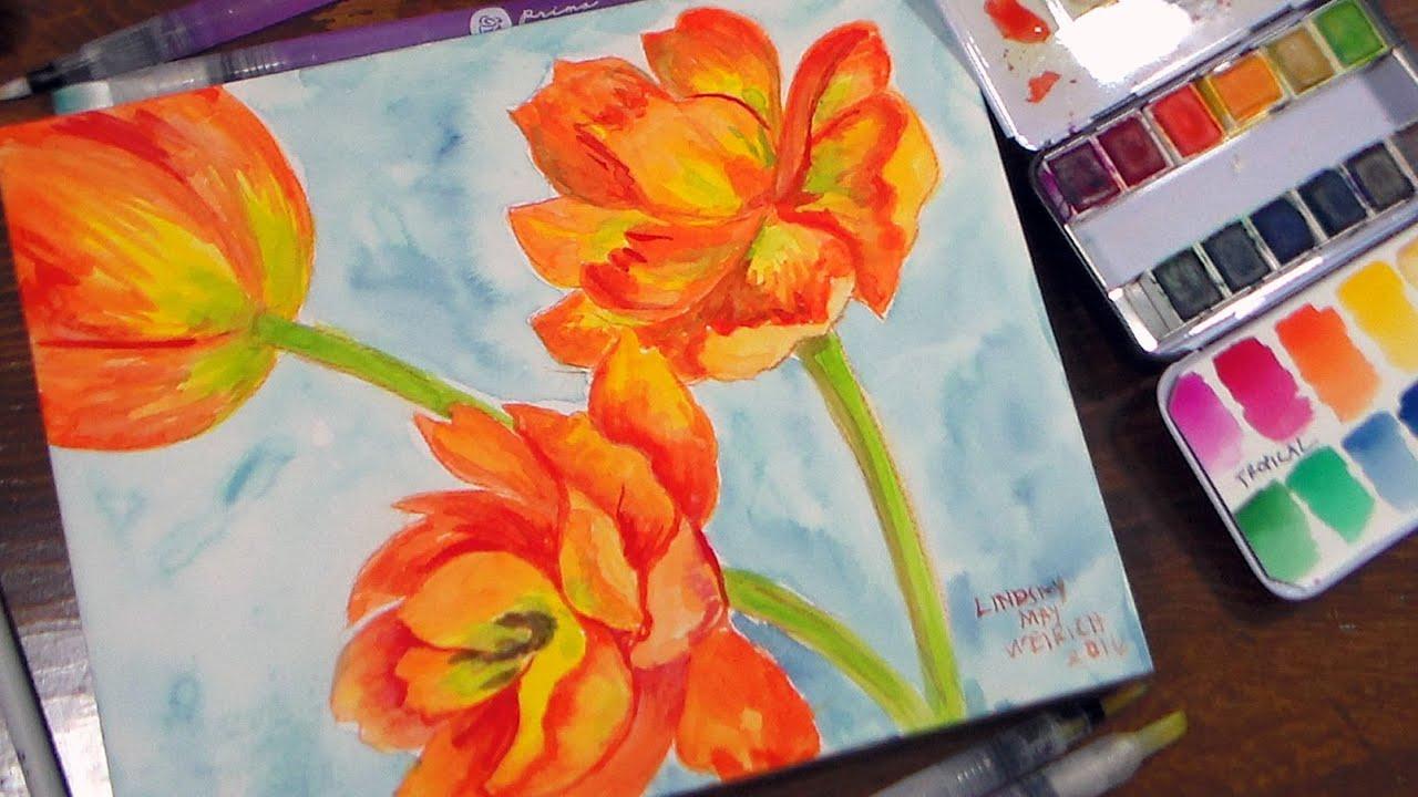 Watercolor paper coloring book - Prima Watercolors Coloring Book Waterbrushes Watecolor Panel Review Tutorial Youtube