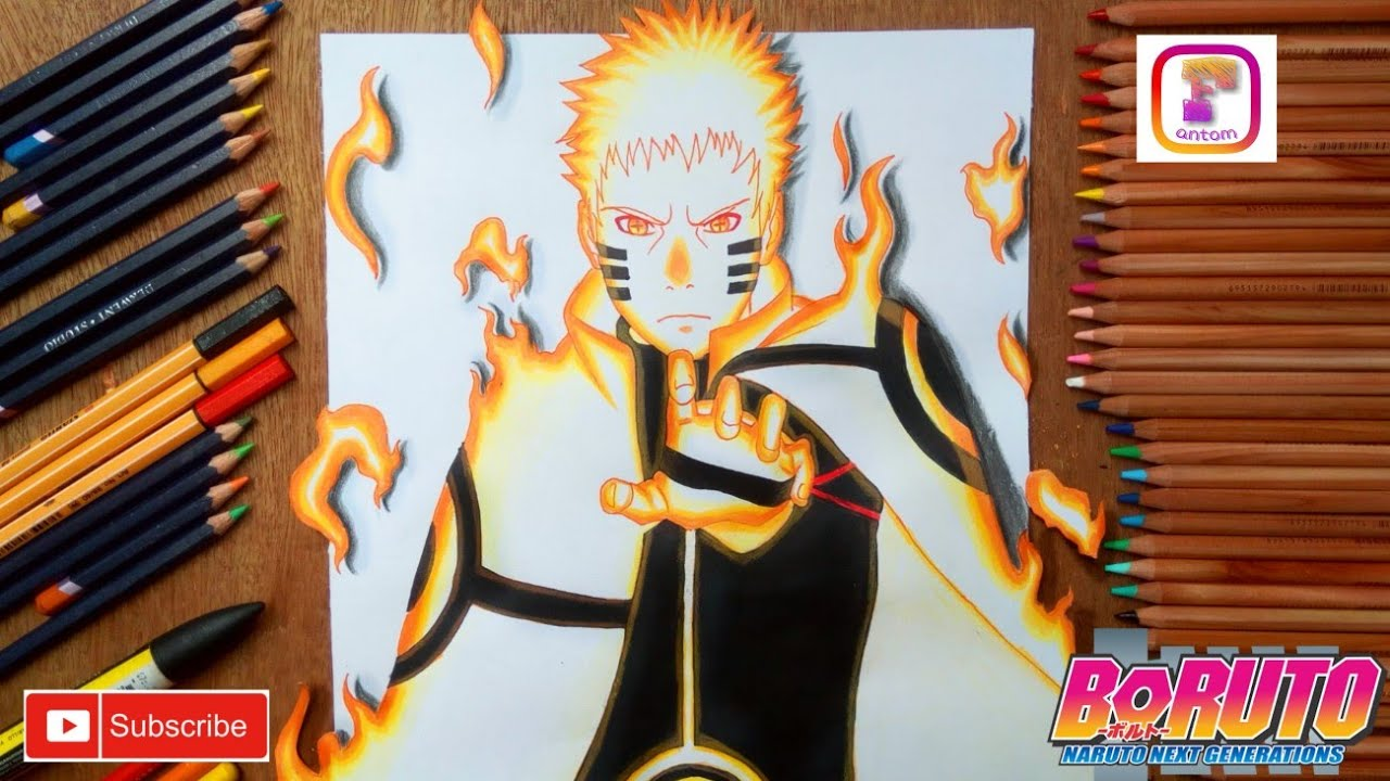 Drawing naruto 3d kurama mode boruto next generation
