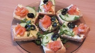 закуска бутерброд с семгой snack sandwich with salmon