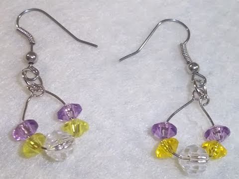 how to make a simple purple and yellow mini hoop earrings. Black Bedroom Furniture Sets. Home Design Ideas