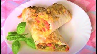 Горячая закуска из лаваша быстро готовится и быстро съедается! Пицца рулет из лаваша.