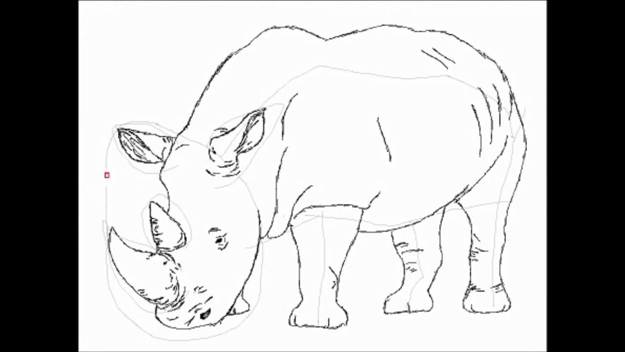 วาดรูป การ์ตูน - Rhino ( แรด )