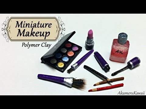 Miniature Makeup; Eyeshadow, lipstick, and mascare - Polymer clay tutorial