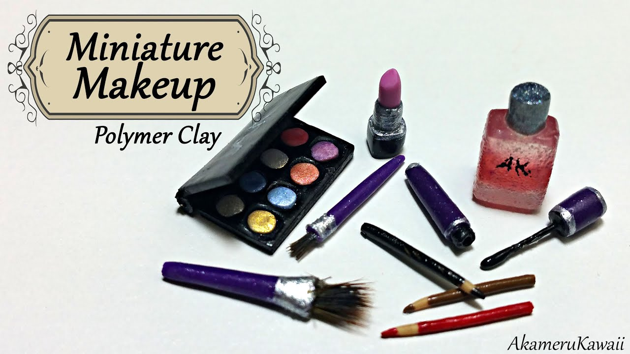 Miniature Makeup Eyeshadow Lipstick And Mascare Polymer Clay Tutorial You
