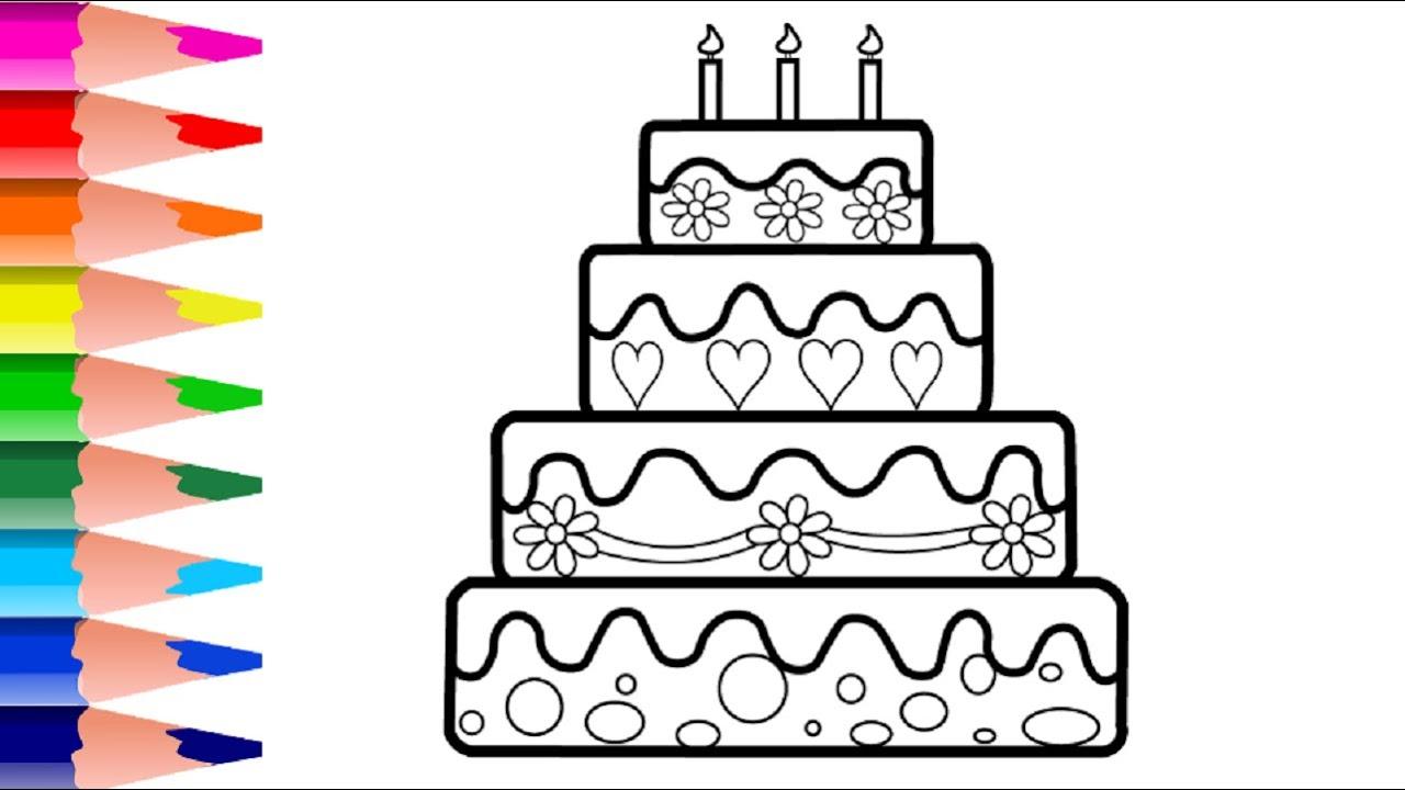 Çok Güzel Doğum Günü Pastası Çizim Ve Boyama Videosu - Doğum Günü Pastası Nasıl Çizilir