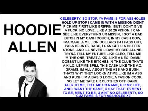 Hoodie Allen - Fame Is For Assholes Ft. Chiddy LYRICS