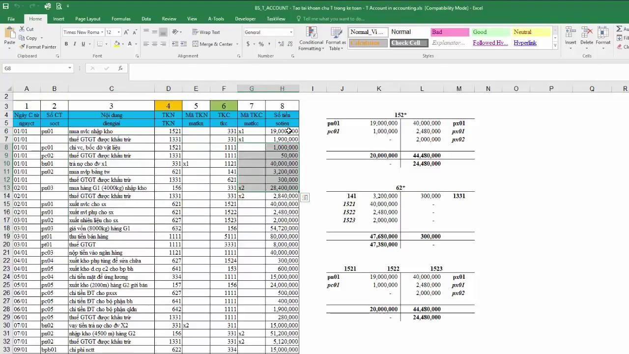 Công thức tạo tài khoản chữ T động trong Excel – Hàm BS_T_ACCOUNT