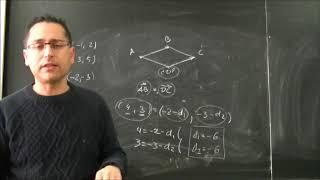 Vectores en el plano. Coordenadas del cuarto vértice de un paralelogramo 02 a