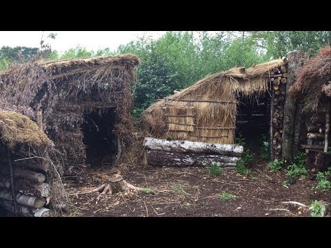 DEBRIS VILLAGE CAMP LEAN TO SHELTER RE-BUILD AND ROAST CHICKEN