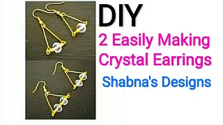 Earrings/DIY/How to make simple crystal Earrings.