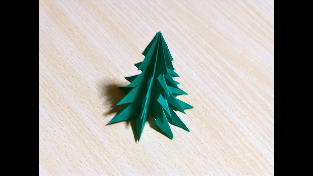 Origami l 39 art du pliage de papier arbre de no l youtube - Pliage de serviette noel facile ...