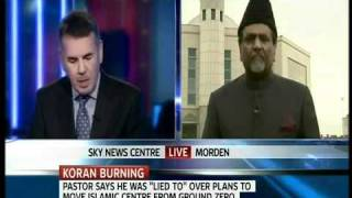 Ahmadiyya Muslim Community UK President  Interviewed by Sky News on Quran Burning Issue.