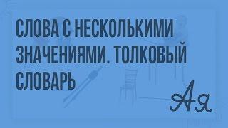 Слова с несколькими значениями. Многозначные слова в толковом словаре. Видеоурок  по русскому языку