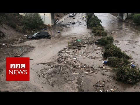 Californian mudslides: 'Like a World War One battlefield' - BBC News