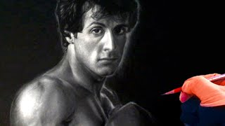 Drawing Rocky / Sylvester stallone on black paper