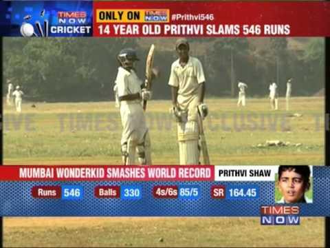 Prithvi Shaw slams 546 in Harris Shield match