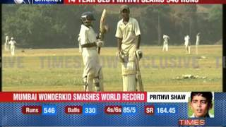Prithvi Shaw slams 546 in Harris Shield match