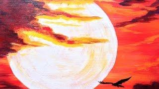 acrylic sunset beginners painting sky