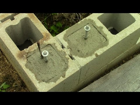Filling Concrete Block Cores and Installing J Bolts