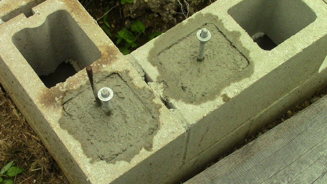 Filling Concrete Block Cores And Installing J Bolts Youtube
