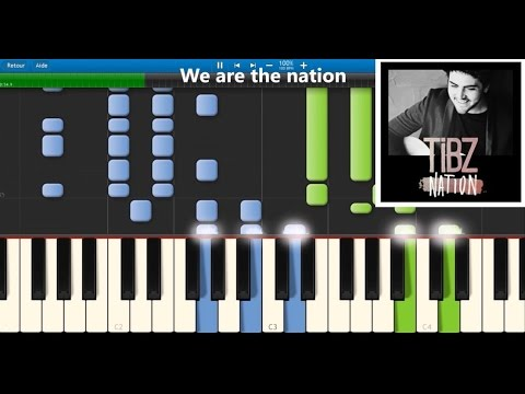TIBZ - Nation - Karaoke / Piano synthesia tutorial (+ lyrics & Sheet music)
