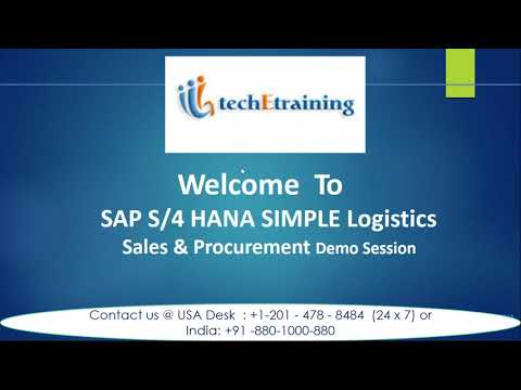Tech E Training::-SAP S 4 HANA Simple Logistics-Sales & Procurement Demo Session