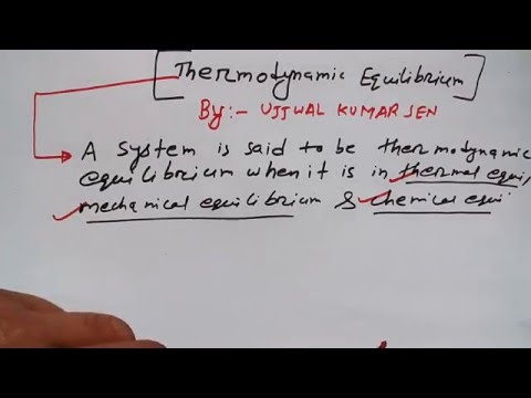 Thermodynamics Equilibrium- Chemical, Mechanical and Thermal Equilibrium-