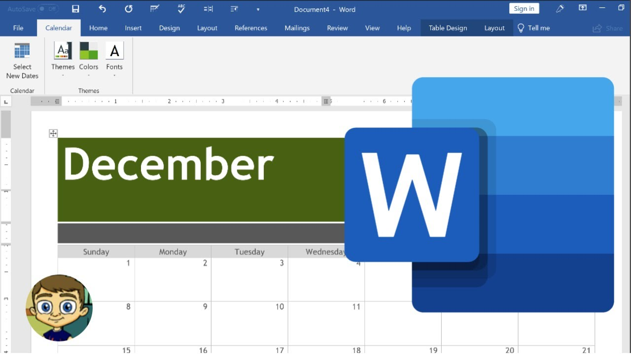 Creating A Calendar In Microsoft Word Youtube