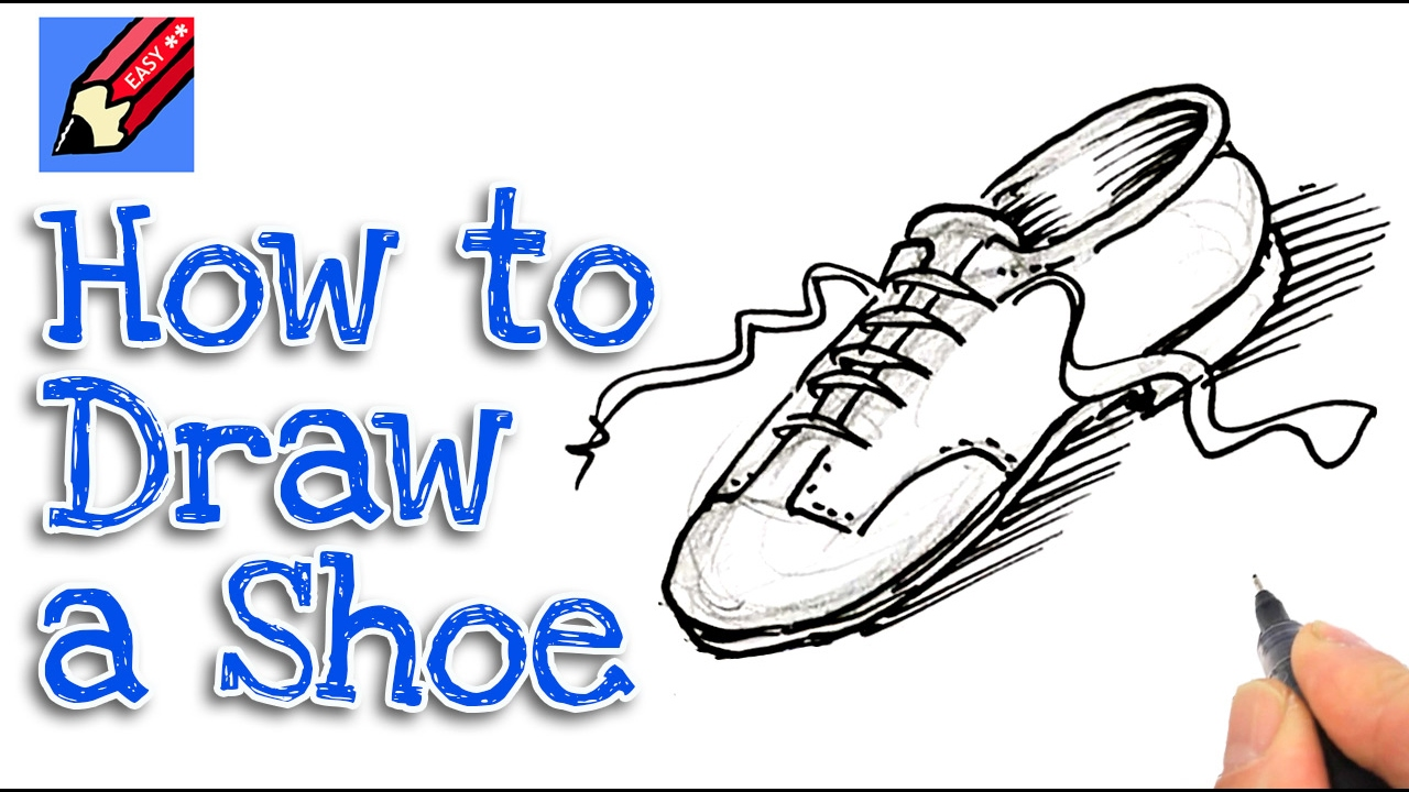 Learn how to draw a shoe real easy for kids and beginners